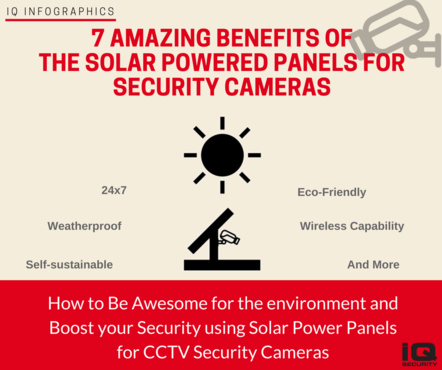 IQ Infographics 7 Benefits Solar Powered panels for CCTV