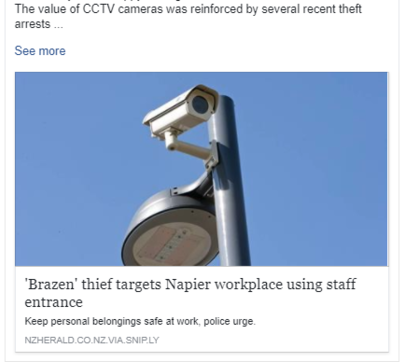 The value of CCTV Cameras reinforced by recent arrests in Napier